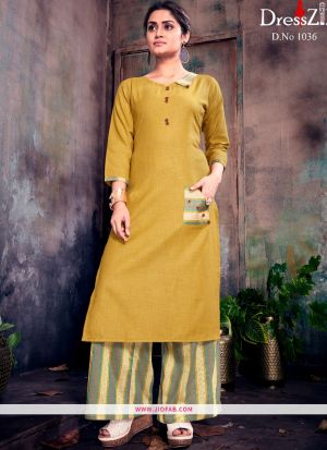 Designer Yellow Ruby Cotton Plain Long Kurti