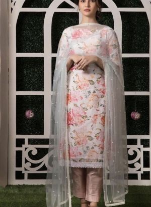 Digital Print White Salwar Suoit For Festive Occasion