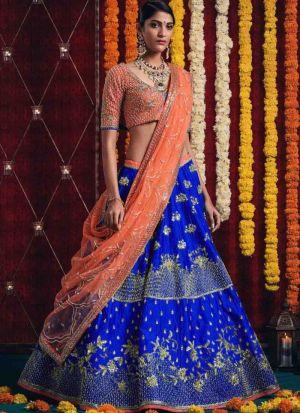 Diwali Festive Special Dark Blue Heavy Embroidery Designer Bridal Lehenga Choli