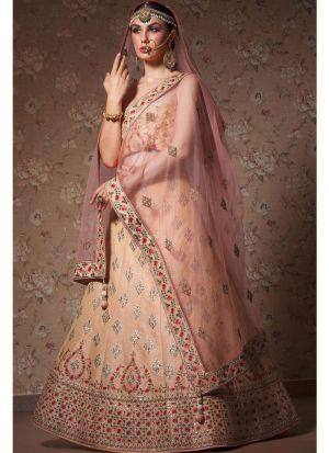 Diwali Festive Special Light Orange Heavy Embroidery Designer Bridal Lehenga Choli