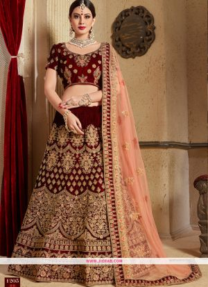 Diwali Special Designer Pure Velvet Maroon Lehenga Choli with Dupatta