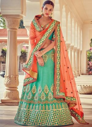 Diwali Wear Rama Malbari Silk Lehenga Choli