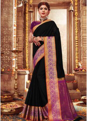 Elegant Black Wedding Wear Handloom Silk Saree