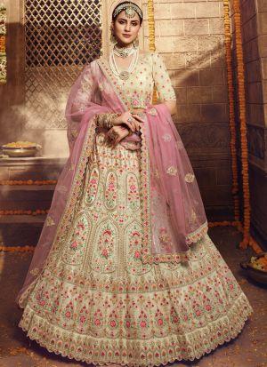 Elegant Collection Cream Lehenga Choli For Engagement