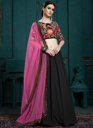 Elegant Collection Georgette Black Color Designer Lehenga Choli
