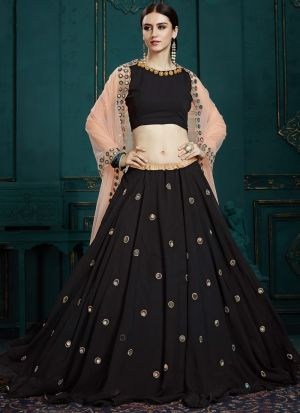 Elegant Collection Georgette Black Designer Lehenga Choli