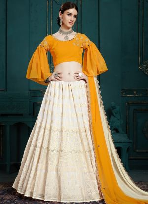 Elegant Collection Georgette White Designer Lehenga Choli