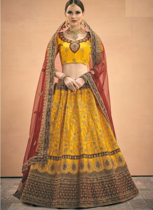 Elegant Collection Satin Mustard Color Designer Lehenga Choli