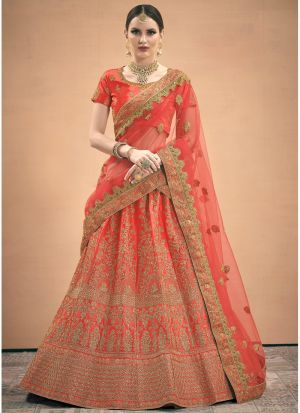 Elegant Collection Satin Red Wedding Designer Bridal Lehenga Choli