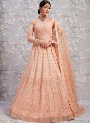 Elegant Collection Soft Net Peach Designer Lehenga Choli