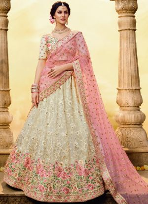 Elegant Collection White Zari Work Lehenga Choli For Engagement
