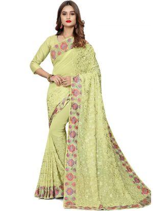 Elegant Lemon Yellow Wedding Wear Bemberg Saree
