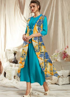 Elegant Look Rayon Sky Blue Kurti With Printed Jacket
