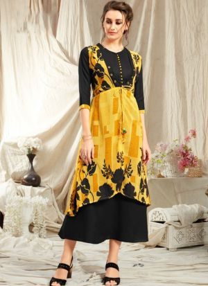 Elegant Look Rayon Yellow Kurti With Printed Jacket