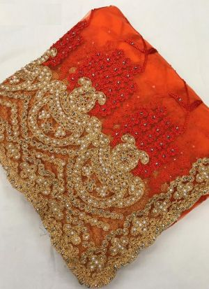 Elegant Orange Heavy Net Party Wear Saree