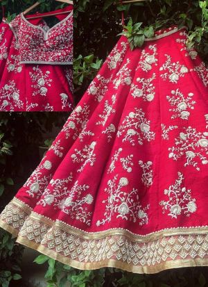 Elegant Pink Thread WorkWork Taffeta Silk Lehenga Choli