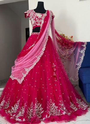 Elegant Pink Naylon Mono Net Party Wear Lehenga Choli