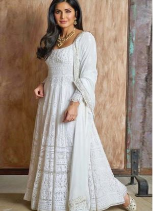 Elegent Katrina Kaif Style White Chain Stitch Salwar Suit