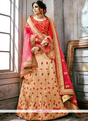Embroidered Beige Color Traditional Anarkali Style Lehenga