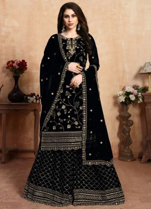 Embroidered Black Palazzo Suits For Wedding Functions