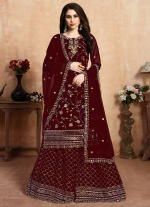 Embroidered Maroon Palazzo Suits For Wedding Functions
