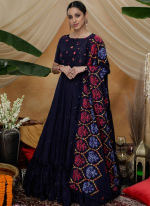 Embroidered Navy Festive Wear Silk Anarkali Suit