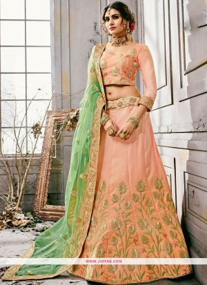 Embroidered Peach Color Traditional Anarkali Style Lehenga