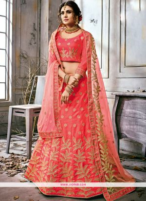 Embroidered Red Color Traditional Anarkali Style Lehenga