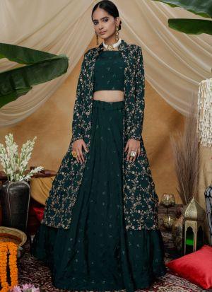 Embroidered Work Green Chinon Koty Style Lehenga Choli