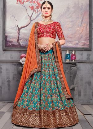Embroidered Work On Deep Ocean Blue Designer Bridal Lehenga Choli In Banarasi Silk Fabric