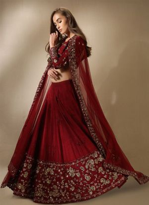 Excellent Maroon Fancy Sequence Work Lehenga Choli