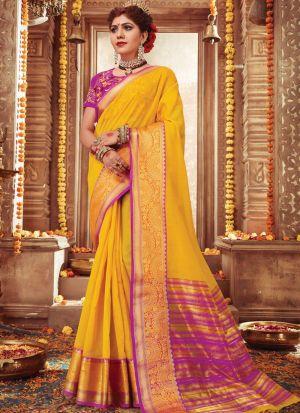 Exceptional Yellow Handloom Silk Saree
