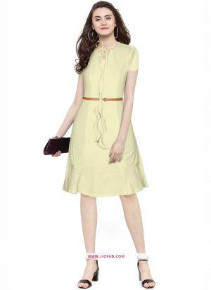 Exclusive Designer Cream Short Dress
