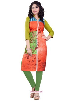 Exclusive Designer Heavy Orange Crepe Digital Printed Kurti For Women