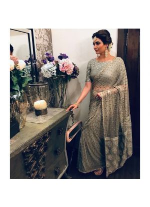 Exclusive Grey Designer Party Wear Saree With Designer Blouse