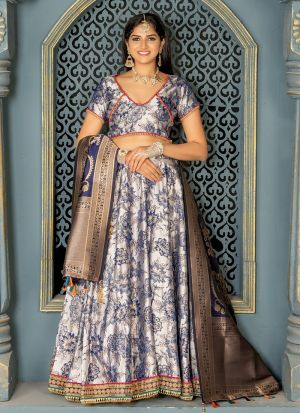 Exclusive Light Grey Jacquard Lehenga Choli