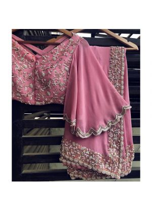 Exclusive Magenta Pink Designer Party Wear Saree With Designer Blouse