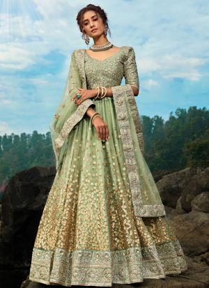 Eye Catching Green Reception Wear Soft Net Lehenga Choli