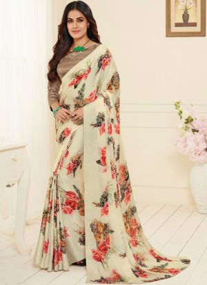 Fabulous Casual Wear White Printed Saree