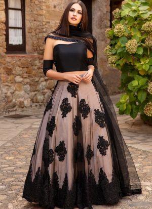 Fancy Black Butterfly Net Lehenga Choli With Fancy Thread Work And Butterfly Net Dupatta