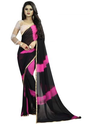 Fancy Chiffon Black And Pink Saree