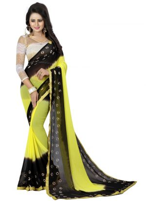 Fancy Chiffon Black And Yellow Saree