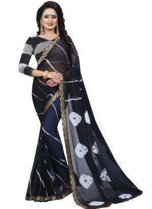 Fancy Chiffon Black Saree