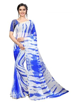 Fancy Chiffon Blue Saree