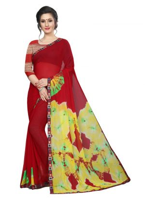 Fancy Chiffon Red Saree