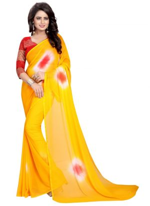 Fancy Chiffon Yellow Saree