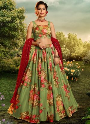 Fancy Digital Printed Green Party Wear Lehenga Choli