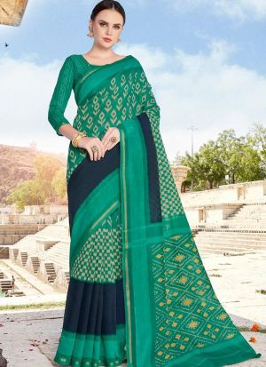 Fancy Printed Green Cotton Saree