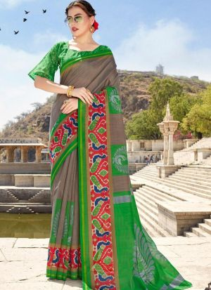 Fancy Printed Multi Color Cotton Saree
