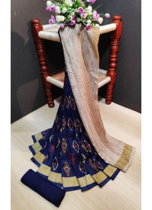 Fancy Printed Multi Color Pashmina Silk Saree